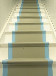 Grey & Teal painted stairs for basement