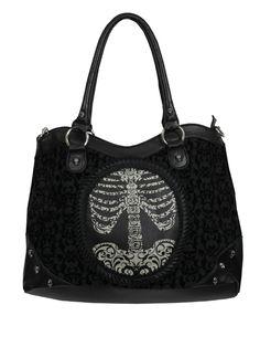 banned flocking rib cage handbag