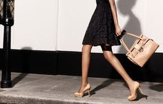 the little black dress with neutral bag and shoes
