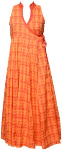 Buy Bhama Couture Orange Angrakha Printed  kurta Online, , LimeRoad