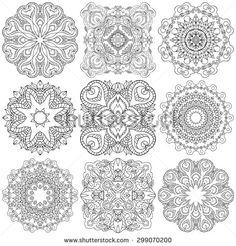 Set of ethnic ornamental floral pattern. Henna mehndi design elements. Hand drawn mandalas. Orient traditional background. Lace circular ornaments.  Indian, Islamic, Asian, ottoman, Arabic  motifs.