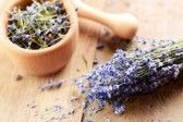 Pestle and mortar with lavender on the oak table  stock photography
