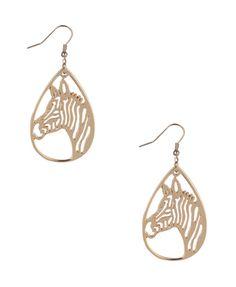 Cutout Zebra Teardrop Earrings