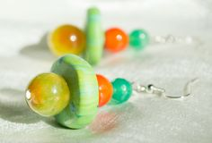 Earring for Woman Dangle Earring handmade Polymer Clay featured Cracked beads…