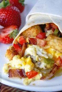 Breakfast burritos are quick and easy and you can make a whole bunch and freeze them for those rushed mornings. Simply delicious!