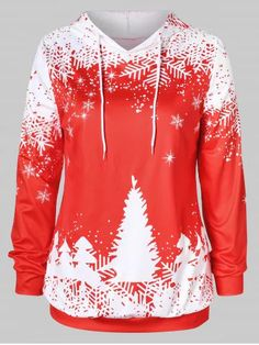Plus Size Christmas Tree Print Graphic Hoodie Plus Size Womens Clothing, Plus Size Fashion, Clothes For Women, Plus Size Hoodies, Tree Print, Plus Size Maxi Dresses, Red Hoodie, Maxi Dress With Sleeves, Pattern Fashion