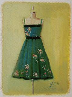 Emerald City Dress Original  Oil Painting on by janethillstudio
