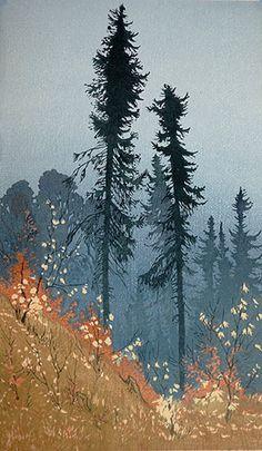 ✨ Oscar Droege (1898-1983) - Kiefern im Herbst, Farb-Holzschnitt ::: Pines in Autumn, Colour Woodcut