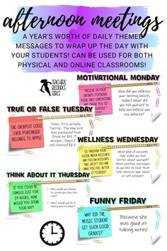 End your school day in a consistently positive and engaging way with these daily themed afternoon meeting whiteboard 5 minute prompts! There are 200 slides, more than enough for one for every day of the school year! Character Education, Character Development, School Resources, Teacher Resources, School Teacher, School Days, Preschool Classroom, Classroom Ideas, Reggio Inspired Classrooms
