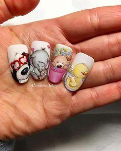 Kawaii Nail Art, Cute Nail Art, Cute Nails, New Years Nail Designs, Nail Art Designs, Animal Nail Art, New Year's Nails, Disney Nails, Nail Arts