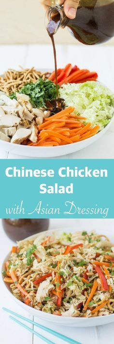 A Chinese Chicken Salad that can stand on its own as a healthy meal. Lots of chi… A Chinese Chicken Salad that can stand on its own as a healthy meal. Lots of chicken and colorful vegetables tossed in a homemade Asian salad dressing! Lunch Snacks, Lunches, Comida Kosher, Asian Recipes, Healthy Recipes, Diet Recipes, Clean Eating, Healthy Eating, Colorful Vegetables