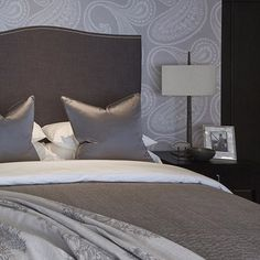 Paisley pattern is a personal favourite #wallpaper #bedroom #headboard #cushions #lighting #luxuryhome #luxuryinteriors #houzz #homedecor #i...