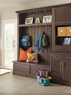 Help your home make a great first impression with these fantastic entryway cabinets from Schrock. Hutton cabinets in a deep, Thatch finish create a warm welcome while storing coats, shoes and backpacks with ease.