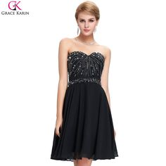 Sale Today $45.57, Buy Black Cocktail Dress Grace Karin 2017 New Sweetheart Knee Length Beaded Luxury Cocktail Dress Special Occasion Dress GK89