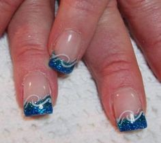 french tip gel nail designs | permanent gel coloured french with airbrush border - Nail Art Archive ...