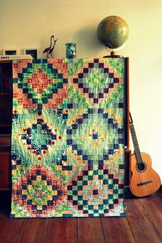 "Many trips around the world quilt.  Possibly my favorite use of the DS Quilts fabric, ""Picnics and Fairgrounds"" yet!"