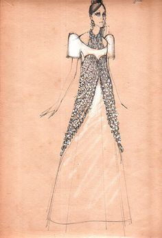 Ramon Velera sketch of a terno. Ramones, Drawing Sketches, Drawings, Filipino, Fashion Sketches, Appreciation, Pride, Vintage, Art