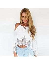 Top Woman Fashion blouse 2015 New summer stylle slash neck full sleeve  solid white with lace short blouse 60574a85664c