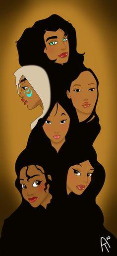 Exotic Disney Redux by kittynpink.deviantart.com on @deviantART - Disney women of colour. Top to bottom: Esmeralda, Kida, Pocahontas, Mulan, Tiana (on left), Jasmine (on right).