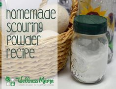 Scouring powder is great to use on tubs, sinks, and other hard to clean areas of your home. This recipe is easy to make, and non-toxic.