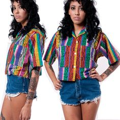 80s African Button up Crop Top by rumors on Etsy, $34.00