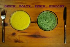 Green an yellow smoothies with spirulina and bee pollen.