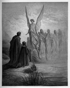 4:arrival of souls purgatory:  Gustave Doré's Dramatic Illustrations of Dante's Divine Comedy