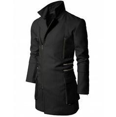 Mens Coat Black Zip-up Slim Coat (CO2)