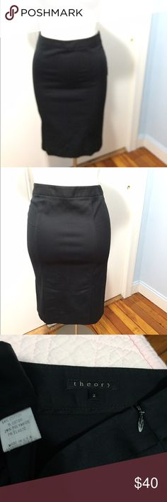 Theory black pencil skirt stretchy double vent Nice theory skirt in good pre-owned condition. Some stretch for comfortable and flattering fit. Labeled a 2 but fits more like a 4. Waist is 28 inches, hips are 35 and length is 24 inches. Double vent in the back. Zipper pull has a paint chip. Theory Skirts Pencil