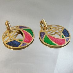 Vintage Abstract Earrings. Gold Tone Hoops. Stained Glass Style. Pink. Purple. Blue. Green. Marbled Enamel. on Etsy, $19.99