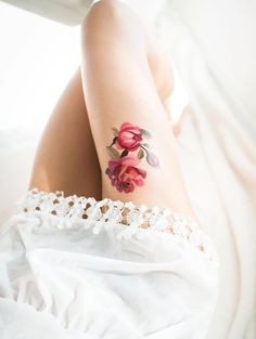 Rose thigh tatto - 100+ Meaningful Rose Tattoo Designs