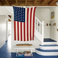 Staircase and American Flag