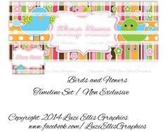 Birds and Flowers Facebook Timeline Banner & by LuziEllisGraphics Printed Ribbon, Facebook Timeline, Fb Covers, Collage Sheet, Circles, Banners, Avatar, Custom Design, My Etsy Shop