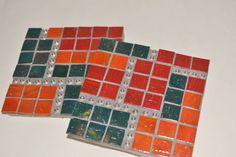 Mosaic Coasters Set of 4 Handmade Green Red Orange by gcbmosaics