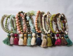 Items similar to Semi-Precious Stretch Handmade Tassel Bracelets on Etsy Tassel Bracelet, Tassel Jewelry, Beaded Jewelry, Jewelry Bracelets, Stackable Bracelets, Handmade Bracelets, Handmade Jewelry, Diy Collier, Jewelry Accessories