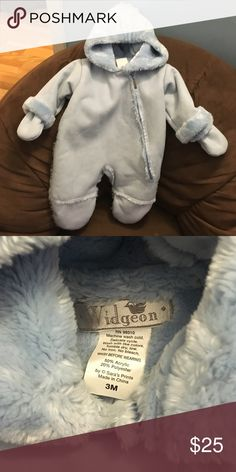 Suede Baby Bunting The Brand is Widgeon. Like new condition. Soft insulation for warmth. Side zipper. Attached gloves. Jackets & Coats