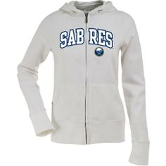 $59.99 - $64.99 awesome Buffalo Sabres Applique Womens Zip Front Hoody Sweatshirt (White)