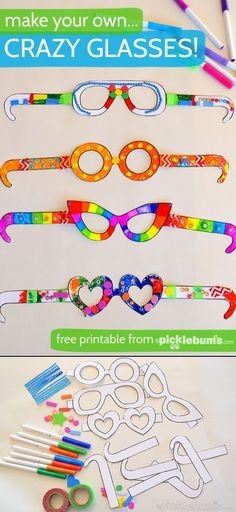Free Printable Crazy Glasses - Craft for meeting childcare? Free Activities For Kids, Free Preschool, Preschool Crafts, Free Printable Art, Printable Crafts, Free Printables, K Crafts, Diy Crafts For Kids, Name Art Projects