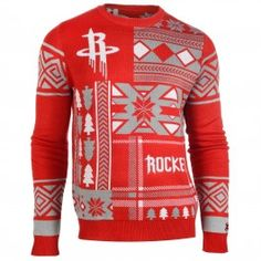 Houston Rockets Patches Crew Neck Sweater (Red)