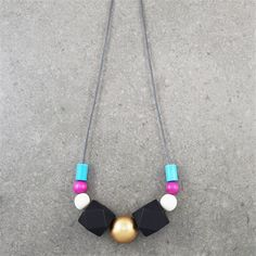 Chunky Turquoise, Pink, Black, Gold & White Wooden Bead Colourful Long Necklace