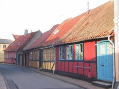 Street with old houses in the Danish town Kerteminde on the island Fyn/Funen