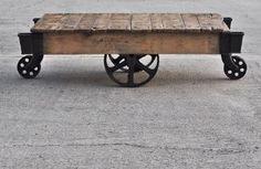 vintage industrial cart coffee table
