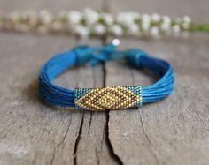 Tribal brazalete, pulsera de cáñamo, pulsera Boho, pulsera Bohemia, semilla del grano pulsera nativos americanos, Eco Friendly joyería