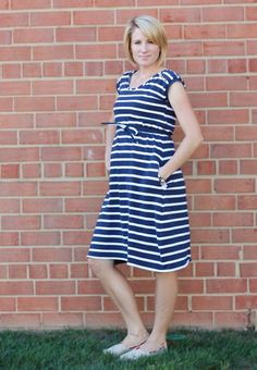 Sailor Stripe Maternity Dress by One Little Minute. Made using her Summer Chevron Dress Tutorial