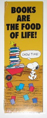 Peanuts Bookmarks | CollectPeanuts.com - Snoopy with Wheelbarrow of Books