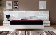 storage furniture luxury | ... Made in Spain Wood Platform and Headboard Bed with Extra Storage