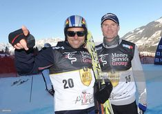 Hannes Arch and David Coulthard attend the Kitzbuehel Charity Race on January 2010 in Kitzbuehel, Austria. David Coulthard, Austria, Charity, Adidas Jacket, Motorcycle Jacket, Pilot, Arch, January, Racing