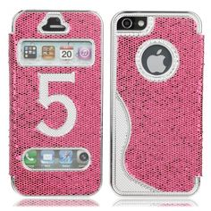 Honeycomb Pattern Protective Flip PU Leather Metal Case for iPhone 5 Rose