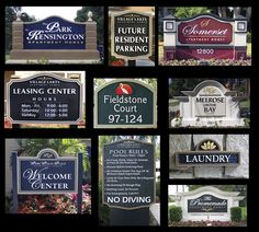property signs, monument signs, regulatory & informational signs