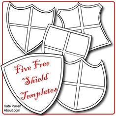 Free shield templates for DIY - who knew shields could be so verstile!: Five Free Shield Templates for Cards and Scrapbook Pages Medieval Crafts, Medieval Party, Viking Party, Vbs Crafts, Bible Crafts, Shield Template, Knight Shield, Shield Of Faith, Knight Party